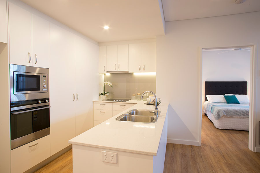 SwanCare Bentley Park's Akora Apartments. New, modern and secure in 2 bedroom and 1.5 bathroom.